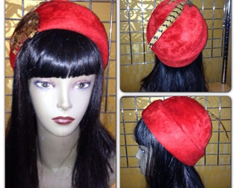 Vintage Red Feather Austrian Felt Hat