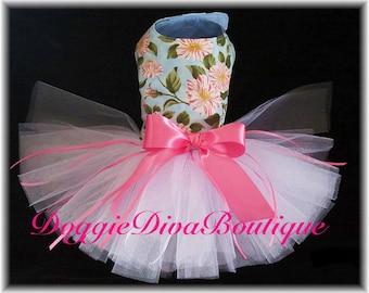 Dog Tutu Dress Hot Pink and White Flowers Medium