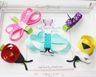 Girls Lady bug, Dragonfly, Butterfly, Bumble Bee Ribbon Sculpture Bows. Free Ship Promo