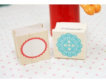 Message Line Rubber stamp set of 2 - Doily