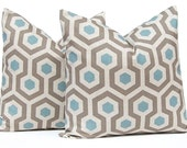 Brown Pillow Covers, Decorative Pillow Cover, Throw Pillow Cover, Pillows, Toss Pillow, Accent Pillow One Taupe Blue Honeycomb