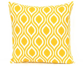 Decorative Throw Pillow Cover - Yellow Pillow Cover - One 20 x 20 - Yellow and White Nicole - Yellow Cushion Cover -