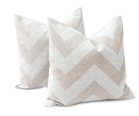 Decorative Burlap Pillow Covers : Burlap Pillow Cover Chevron Pillow Tan Pillow Decorative