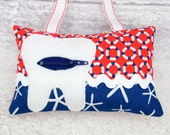 Tooth Fairy Pillow- In Cosmo Cricket Red Navy Blue Life Preservers and Starfish by Michael Miller