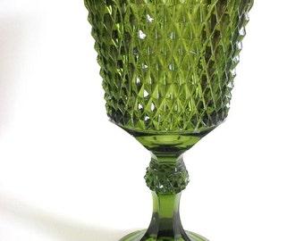 Vintage Green Glass Pedestal Dish