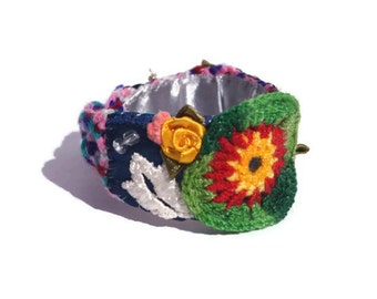 Boho chic woven embroidered bracelet