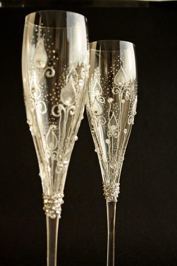 custom order crystal wedding champagne flutes by. Black Bedroom Furniture Sets. Home Design Ideas