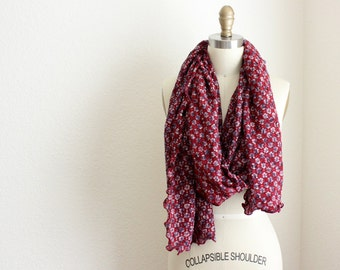 Extra Long Scarf, Lacy Floral Maroon Neckwrap