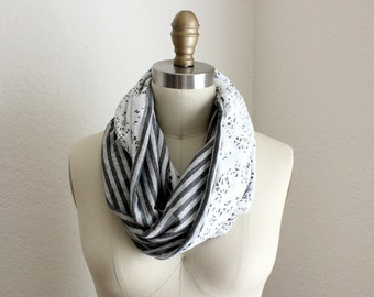 Grey Stripes and Reversible Infinity Scarf