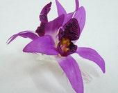 Purple Orchid flower Hair Clip
