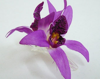 Purple Orchid flower Hair Clip
