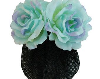 Blue Silk Rose flower Barrette Hair Clip With Snood Net