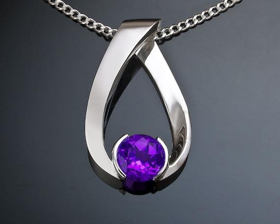 amethyst necklace, February birthstone, amethyst pendant, gemstone jewelry, purple gemstone, eco-friendly silver, Argentium silver - 3470