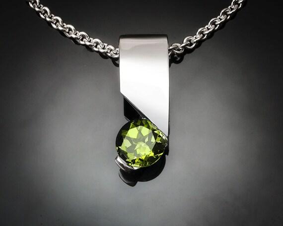 peridot necklace, August birthstone, silver pendant, gemstone jewelry, Argentium silver, modern jewelry, eco-friendly, green gemstone - 3460