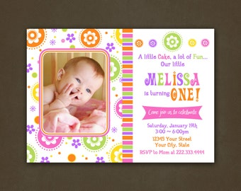 Spring Flowers Bright Colors Birthday Invitation, Printable File