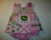 Baby Girl Pink John Deere  Custom Boutique Pinafore With Bloomers  in Sizes Newborn - 3T