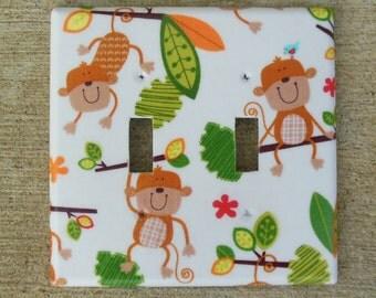 Monkeys Double Light Switch Plate Cover, Monkey Kid's Room, Monkey Nursery