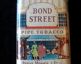 "Vintage Bond Tobacco Tin 4 1/4"" Philip Morris New York and London"