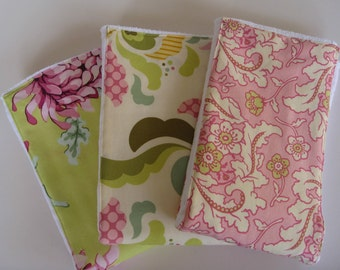 Diaper Burp Cloths - Heather Bailey Fresh Cut Set of 3