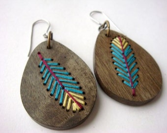 FEATHER---Embroidered Wood Earrings