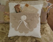 Handmade Shabby Chic Cotton Pillow with Vintage Doily Pocket