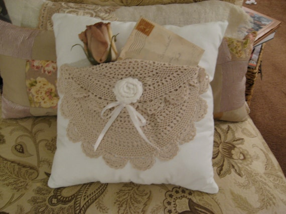 Handmade Shabby Chic Pillows : Handmade Shabby Chic Cotton Pillow with Vintage Doily Pocket