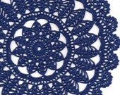 Crochet doily, lace doilies, table decoration, crocheted place mat, doily tablecloth, table runner, napkin, navy blue