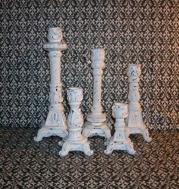 5 Matching Chippy White Ornate Candle Holders