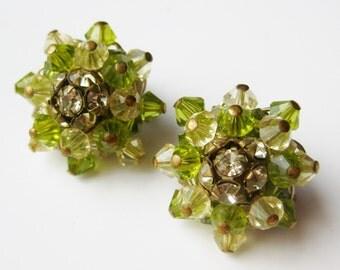Vintage 50s Alice Caviness Peridot Green Glass Crystal Bead Rhinestone Designer Clip Earrings