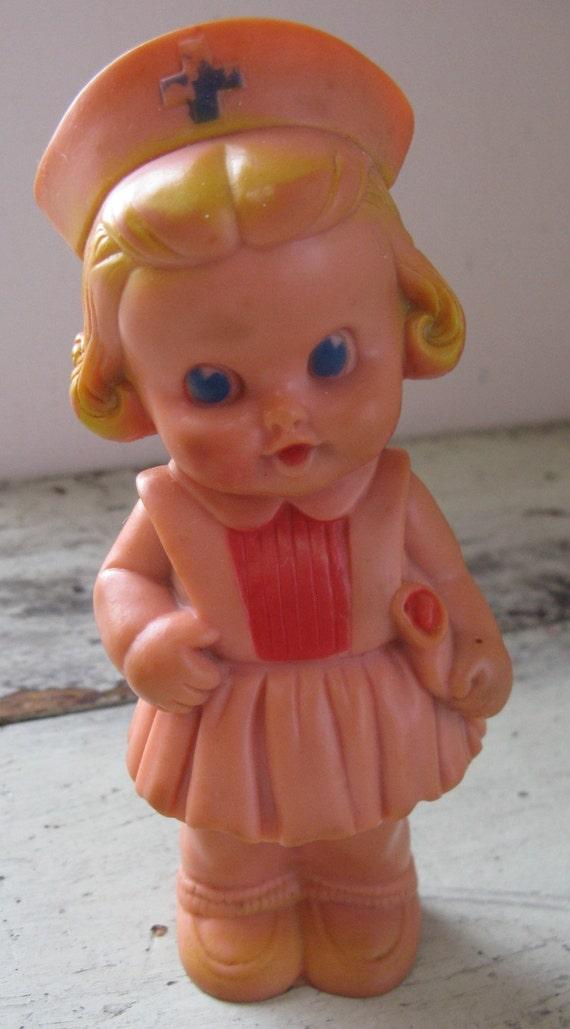 Nurse Doll Sun Rubber Company Squeeker Doll Blonde Hair Blue