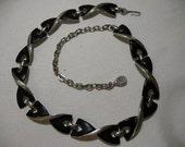 Vintage Silver Tone Necklace with Black Enamel, Signed TRIAD