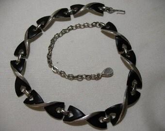 Vintage TRIAD Silver Tone Necklace with Black Enamel