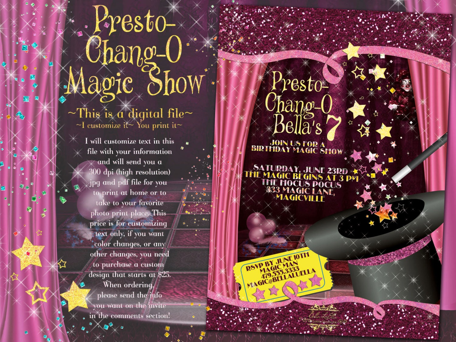 Magic Show Invitation, Magic Show Party, Party Invitations ...