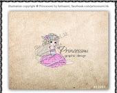Custom Premade Logo Design - sketch hand drawn girl fashion lady logo photography business logo boutique by princess mi logo1299-1