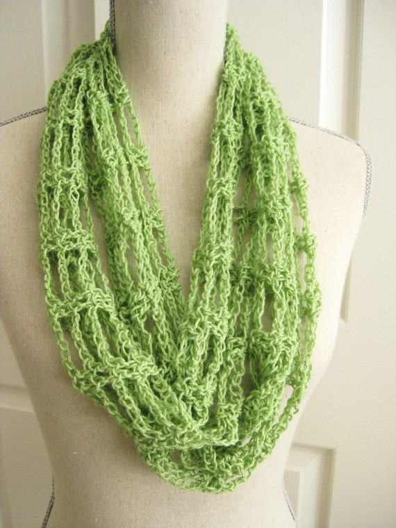Lacy Cowl Scarf Crocheted Spring Green