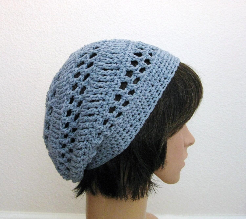 Crochet Slouch Hat: Crochet Slouch Beanie Hat-Light Blue Slouchy Beanie Lacy