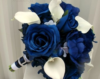 Blue rose Wedding Bouquet, Brides bouquet, Real touch calla lily blue rose silk wedding flowers