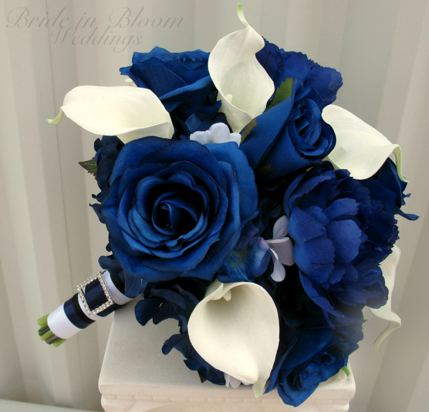 Blue Rose Wedding Bouquet Brides Bouquet Real Touch Calla