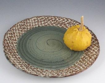 Serving Platter in Green Ocean and rust browns