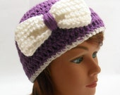 Crochet Bow Beanie Hat in Purple with a White Bow and White Trim