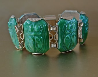 Vintage Bracelet Large Czech Green Jadeite Glass Scarab Link Bracelet Art Deco Egyptian Revival