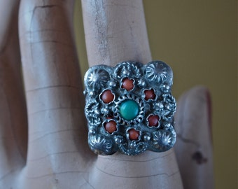 Czech Antique Turquoise and Coral Sterling Silver Ring Ottoman Empire