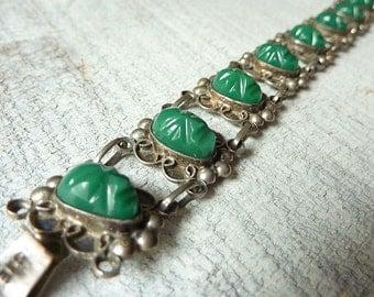 Mexican Sterling Silver Bracelet Vintage Carved Green Onyx Tribal Aztec Masks Faces