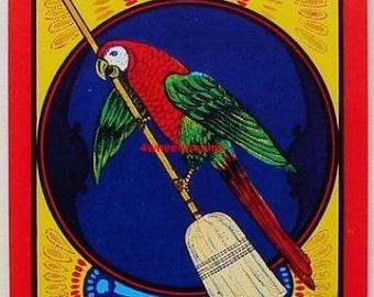 1960s Parrot Tropical Pet Bird Vintage Broom Label Original
