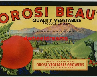 1940s Beauty Veggie Vegetables Tomato Patty Pan Orosi CA Crate Label