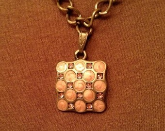 Rustic Pink Pendant Necklace