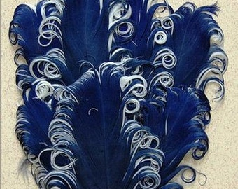 Navy Blue and White Nagorie Feather Pad