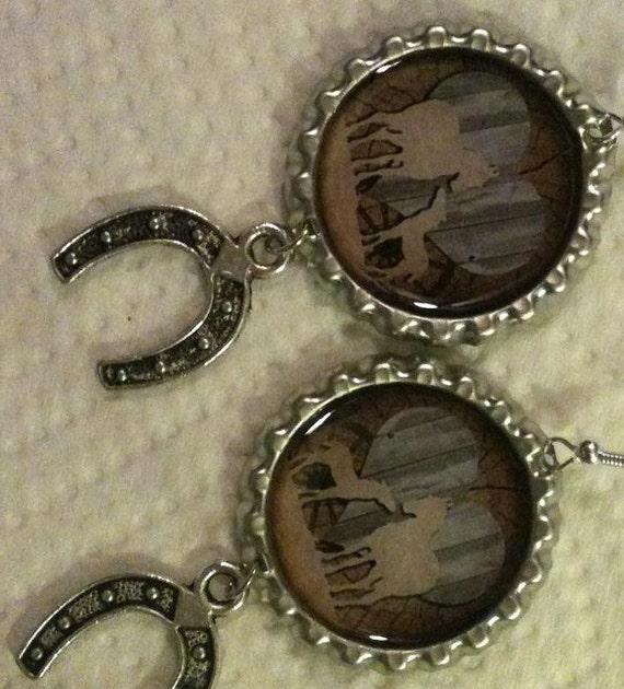 Mare and Foal Cowgirl Bottle Cap Earrings
