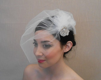 Tulle side birdcage veil with pouf and rhinestone applique flower on alligator clip - Ready to ship in 1 week