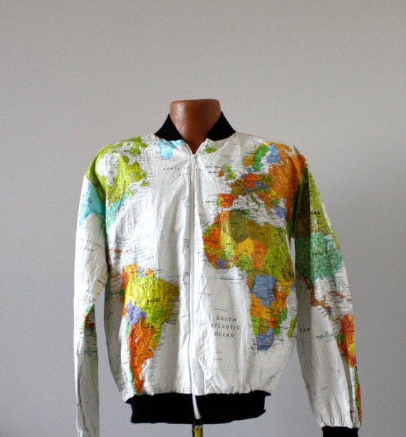 Vintage 1980 39 s Wearin 39 The World Tyvek Map Jacket by aniandrose